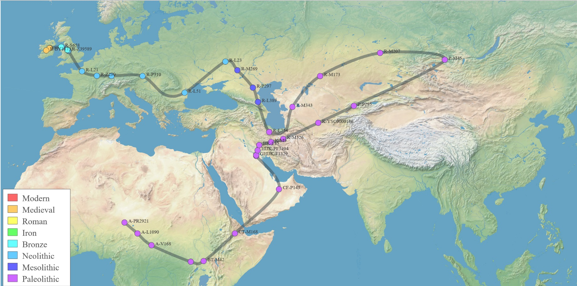 My  genetic route through SNPs